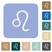 Leo zodiac symbol white flat icons on color rounded square backgrounds - Leo zodiac symbol rounded square flat icons