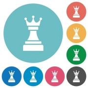 Black chess queen flat white icons on round color backgrounds - Black chess queen flat round icons