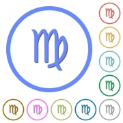 virgo zodiac symbol flat color vector icons with shadows in round outlines on white background - virgo zodiac symbol icons with shadows and outlines