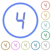 digital number four of seven segment type flat color vector icons with shadows in round outlines on white background - digital number four of seven segment type icons with shadows and outlines