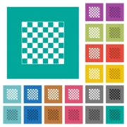 Chess board multi colored flat icons on plain square backgrounds. Included white and darker icon variations for hover or active effects. - Chess board square flat multi colored icons