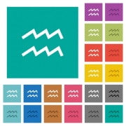 aquarius zodiac symbol multi colored flat icons on plain square backgrounds. Included white and darker icon variations for hover or active effects. - aquarius zodiac symbol square flat multi colored icons