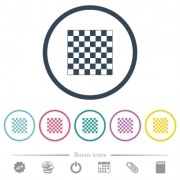 Chess board flat color icons in round outlines. 6 bonus icons included. - Chess board flat color icons in round outlines