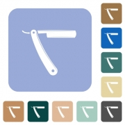 Straight razor white flat icons on color rounded square backgrounds - Straight razor rounded square flat icons