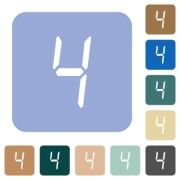 digital number four of seven segment type white flat icons on color rounded square backgrounds - digital number four of seven segment type rounded square flat icons
