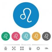 Leo zodiac symbol flat white icons on round color backgrounds. 6 bonus icons included. - Leo zodiac symbol flat round icons