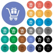 Gift shopping multi colored flat icons on round backgrounds. Included white, light and dark icon variations for hover and active status effects, and bonus shades. - Gift shopping round flat multi colored icons
