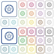 Alloy wheel color flat icons in rounded square frames. Thin and thick versions included. - Alloy wheel outlined flat color icons