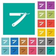 Straight razor multi colored flat icons on plain square backgrounds. Included white and darker icon variations for hover or active effects. - Straight razor square flat multi colored icons - Large thumbnail
