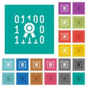 Digital certificate multi colored flat icons on plain square backgrounds. Included white and darker icon variations for hover or active effects. - Digital certificate square flat multi colored icons - Large thumbnail