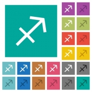 Sagittarius zodiac symbol multi colored flat icons on plain square backgrounds. Included white and darker icon variations for hover or active effects. - Sagittarius zodiac symbol square flat multi colored icons - Large thumbnail