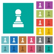 Black chess pawn multi colored flat icons on plain square backgrounds. Included white and darker icon variations for hover or active effects. - Black chess pawn square flat multi colored icons - Large thumbnail
