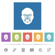 Face recognition flat white icons in square backgrounds. 6 bonus icons included. - Face recognition flat white icons in square backgrounds - Large thumbnail