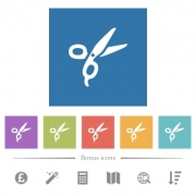 Barber scissors flat white icons in square backgrounds. 6 bonus icons included. - Barber scissors flat white icons in square backgrounds - Large thumbnail