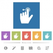 Left handed slide left gesture flat white icons in square backgrounds. 6 bonus icons included. - Left handed slide left gesture flat white icons in square backgrounds - Large thumbnail