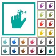 Left handed slide right gesture flat color icons with quadrant frames on white background - Left handed slide right gesture flat color icons with quadrant frames - Large thumbnail