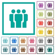 Team flat color icons with quadrant frames on white background - Team flat color icons with quadrant frames - Large thumbnail