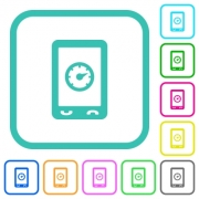 Mobile benchmark vivid colored flat icons in curved borders on white background - Mobile benchmark vivid colored flat icons - Large thumbnail