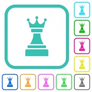 Black chess queen vivid colored flat icons in curved borders on white background - Black chess queen vivid colored flat icons - Large thumbnail