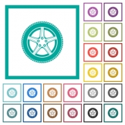 Car wheel flat color icons with quadrant frames on white background - Car wheel flat color icons with quadrant frames - Large thumbnail