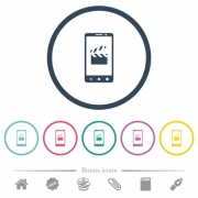 Smartphone film cut flat color icons in round outlines. 6 bonus icons included. - Smartphone film cut flat color icons in round outlines