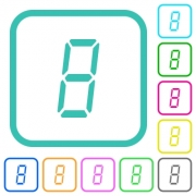 digital number eight of seven segment type vivid colored flat icons in curved borders on white background - digital number eight of seven segment type vivid colored flat icons - Large thumbnail
