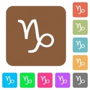 Capricorn zodiac symbol flat icons on rounded square vivid color backgrounds. - Capricorn zodiac symbol rounded square flat icons - Large thumbnail
