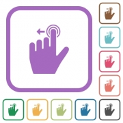 Left handed slide left gesture simple icons in color rounded square frames on white background - Left handed slide left gesture simple icons - Large thumbnail