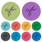 Barber scissors darker flat icons on color round background - Barber scissors color darker flat icons
