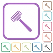 Razor simple icons in color rounded square frames on white background - Razor simple icons