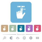 left handed scroll right gesture white flat icons on color rounded square backgrounds. 6 bonus icons included - left handed scroll right gesture flat icons on color rounded square backgrounds - Large thumbnail
