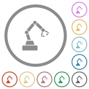 Robot arm flat color icons in round outlines on white background - Robot arm flat icons with outlines