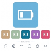 Low battery with one load unit white flat icons on color rounded square backgrounds. 6 bonus icons included - Low battery with one load unit flat icons on color rounded square backgrounds - Large thumbnail