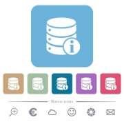 Database info white flat icons on color rounded square backgrounds. 6 bonus icons included - Database info flat icons on color rounded square backgrounds - Large thumbnail