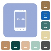 Mobile iris scanner white flat icons on color rounded square backgrounds - Mobile iris scanner rounded square flat icons