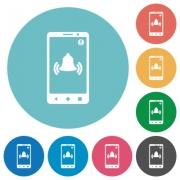 Mobile push notification flat white icons on round color backgrounds - Mobile push notification flat round icons