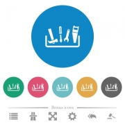 Toolbox flat white icons on round color backgrounds. 6 bonus icons included. - Toolbox flat round icons - Large thumbnail
