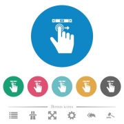 right handed scroll right gesture flat white icons on round color backgrounds. 6 bonus icons included. - right handed scroll right gesture flat round icons - Large thumbnail