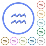 aquarius zodiac symbol flat color vector icons with shadows in round outlines on white background - aquarius zodiac symbol icons with shadows and outlines