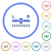 Audio balance control flat color vector icons with shadows in round outlines on white background - Audio balance control icons with shadows and outlines