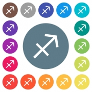 Sagittarius zodiac symbol flat white icons on round color backgrounds. 17 background color variations are included. - Sagittarius zodiac symbol flat white icons on round color backgrounds