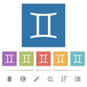 Gemini zodiac symbol flat white icons in square backgrounds. 6 bonus icons included. - Gemini zodiac symbol flat white icons in square backgrounds