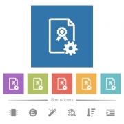 Generating certificate flat white icons in square backgrounds. 6 bonus icons included.