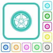 Car wheel vivid colored flat icons in curved borders on white background - Car wheel vivid colored flat icons - Large thumbnail