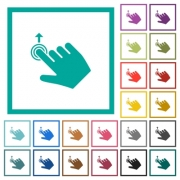 Right handed slide up gesture flat color icons with quadrant frames on white background - Right handed slide up gesture flat color icons with quadrant frames - Large thumbnail