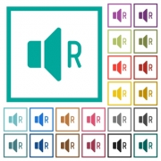 Right audio channel flat color icons with quadrant frames on white background - Right audio channel flat color icons with quadrant frames - Large thumbnail