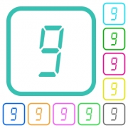 digital number nine of seven segment type vivid colored flat icons in curved borders on white background - digital number nine of seven segment type vivid colored flat icons - Large thumbnail