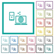 Share mobile internet flat color icons with quadrant frames on white background - Share mobile internet flat color icons with quadrant frames - Large thumbnail