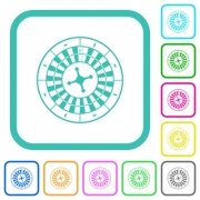 Roulette wheel vivid colored flat icons in curved borders on white background - Roulette wheel vivid colored flat icons - Large thumbnail