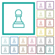 White chess pawn flat color icons with quadrant frames on white background - White chess pawn flat color icons with quadrant frames - Large thumbnail